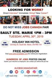 SAULT STE. MARIE JOB FAIR – APRIL 30TH,  2019